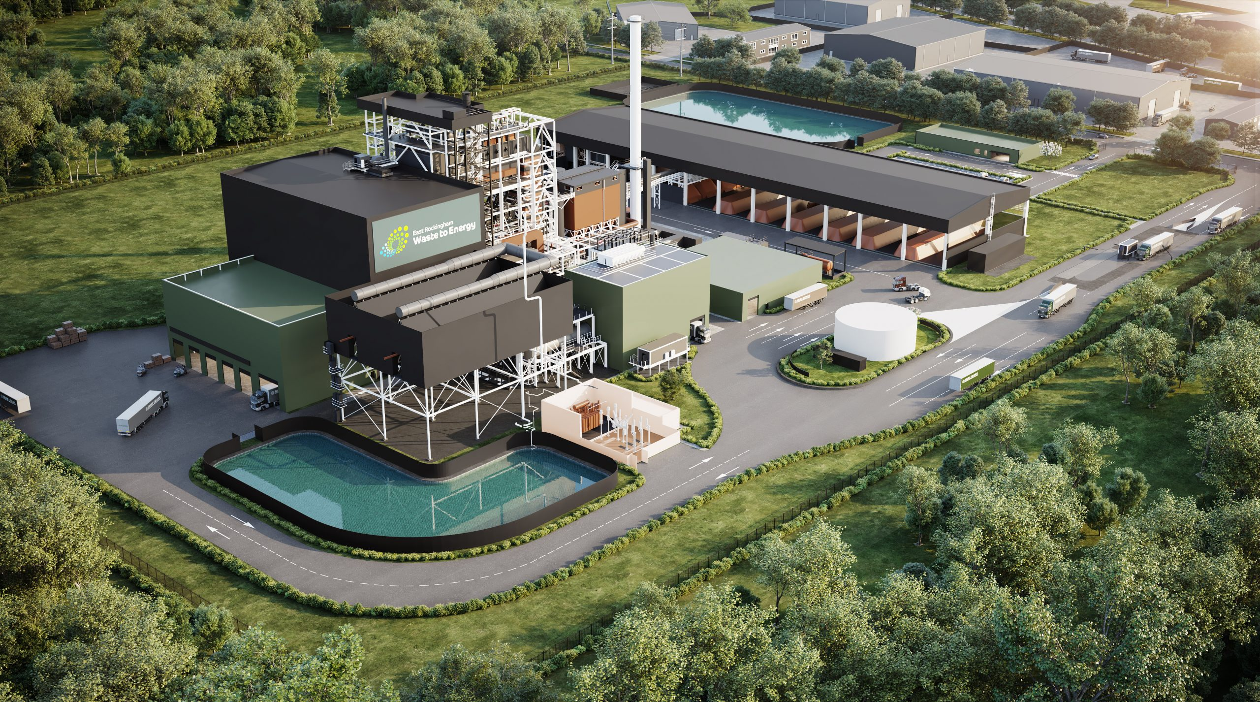 An artist rendering of the East Rockingham energy from waste facility in Western Australia. This facility is under construction and is a similiar, if not identical, design to the Jerrara Power proposal.